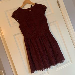 H&M Burgundy Lace Dress Size 6